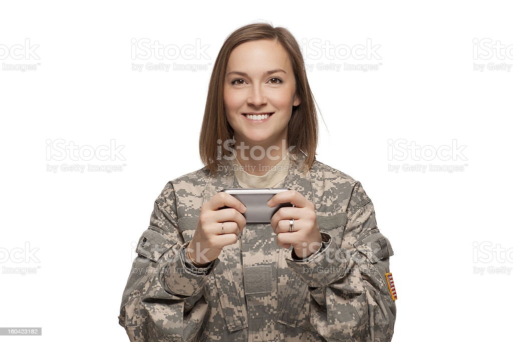 Female Soldier texting royalty-free stock photo