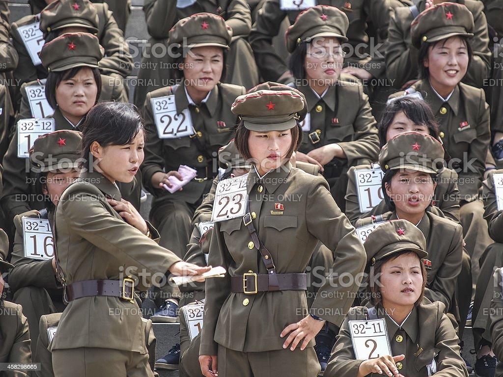 Female Soldiers North Korea stock photo