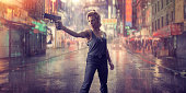 A cinematic, gritty, wide angle image of a female special forces soldier standing holding a generic pistol. The woman is wearing a grey vest, black combat trousers and dog tags with her hair up. She stands in a generic urban Chinatown location on a rainy night. Composite image - fictional location.