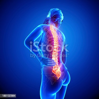 135895161istockphoto Female spine pain side view 185132584