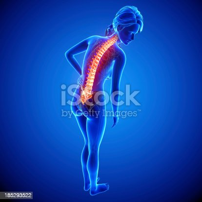 135895161istockphoto Female spine pain side view 185293522
