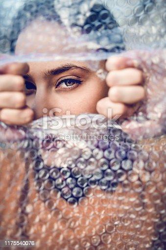 Female Splitting The Bubble Wrap Cover