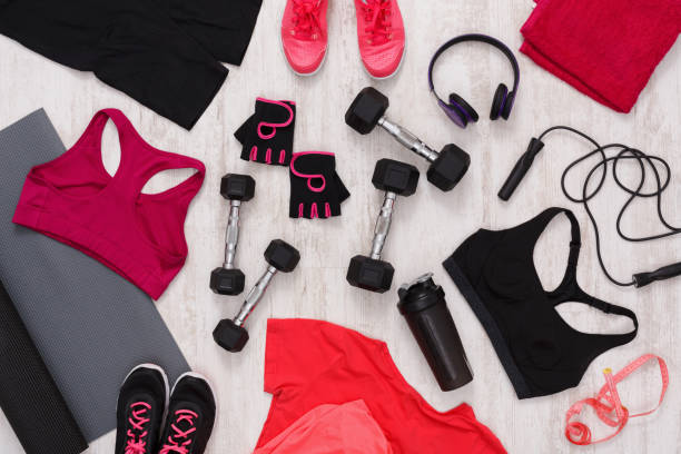 Female sport clothing and equipment top view stock photo