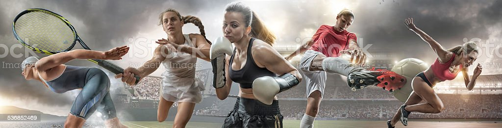 Female Sports Action Heroes royalty-free stock photo