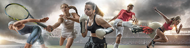 Female Sports Action Heroes stock photo