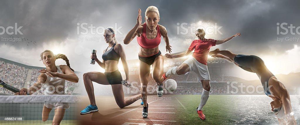 Female Sports Action Superstars stock photo