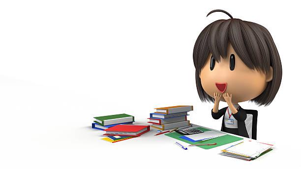 female staff is joy in desk work - 諷刺畫 個照片及圖片檔