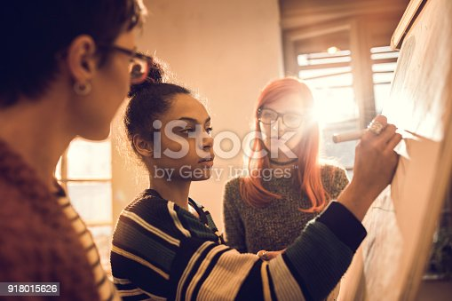497812268 istock photo Female start up team developing new business plan on whiteboard. 918015626