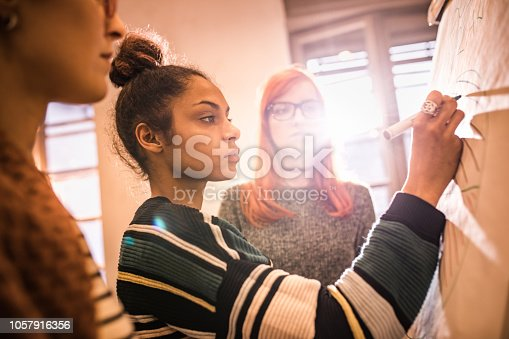 497812268 istock photo Female start up team drawing a business plan on whiteboard in the office. 1057916356