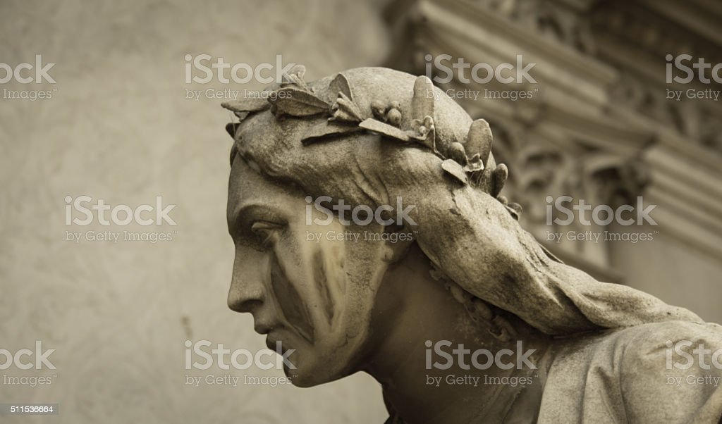 female statue Recoleta Cemetery stock photo