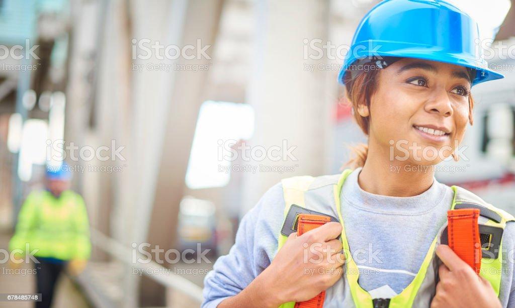 female steel engineer on site stock photo