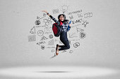 istock Female student and school doodles 2 510107583