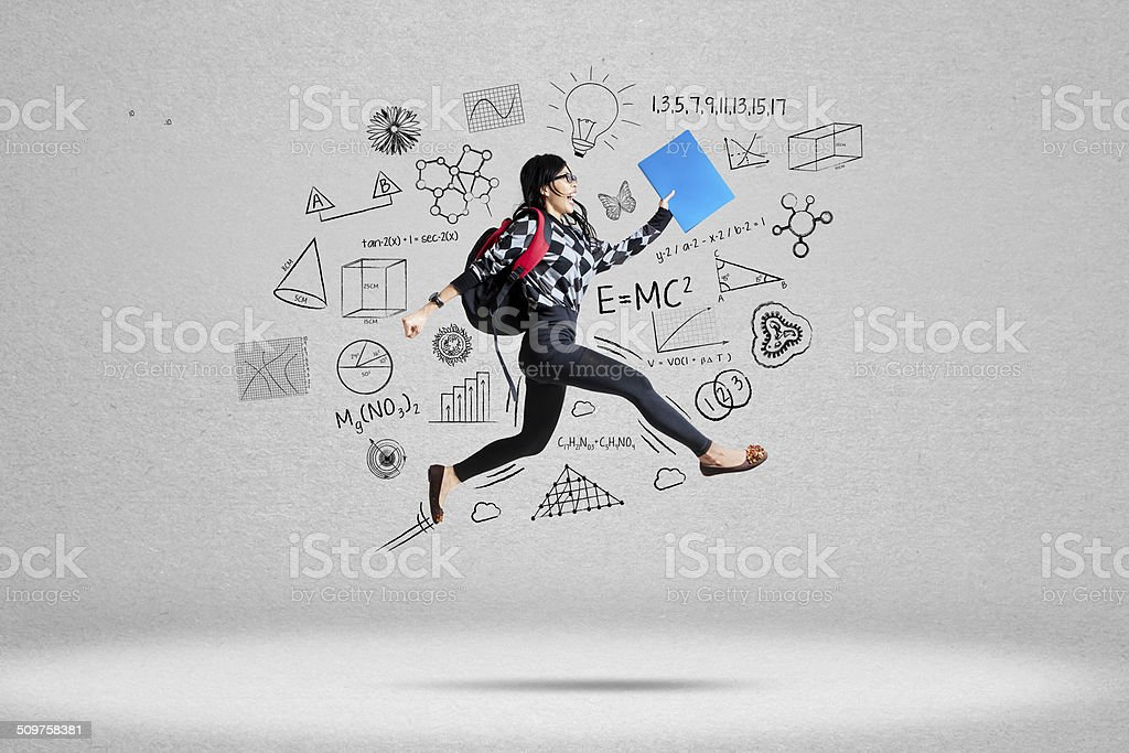 Female student and school doodles stock photo