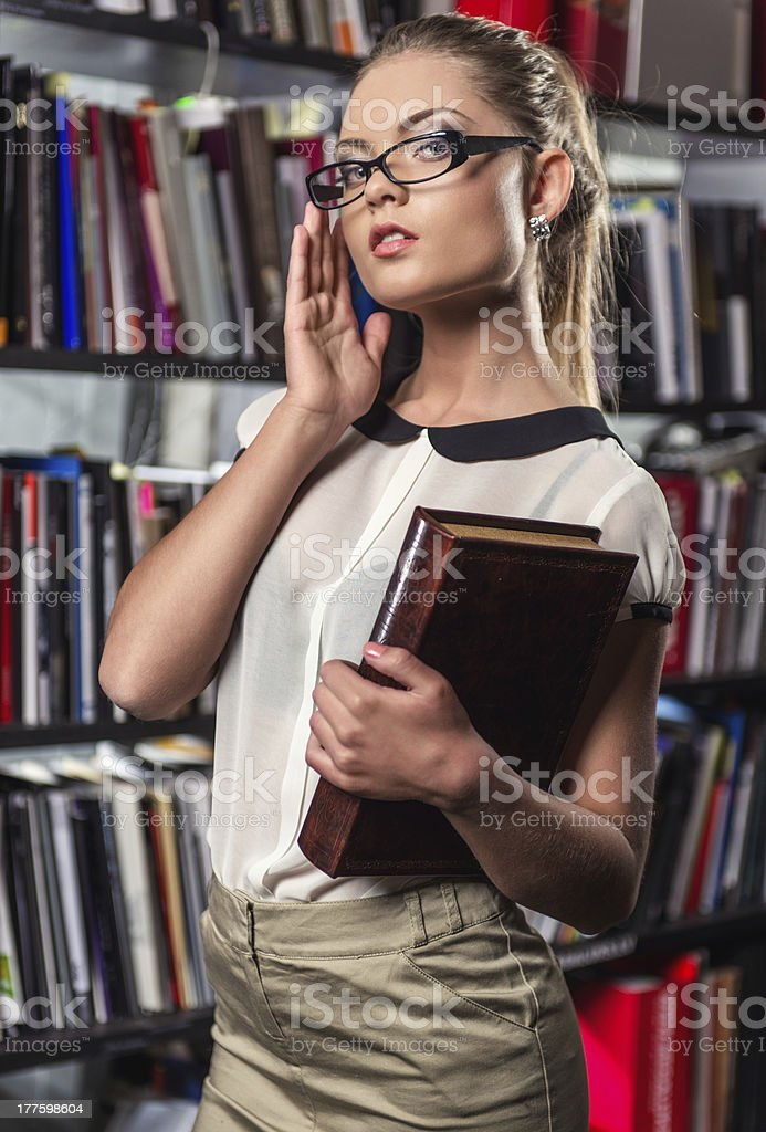 Female student at the library royalty-free stock photo