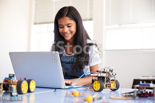 istock Female Student Building And Programing Robot Vehicle In After School Computer Coding Class 1150731216