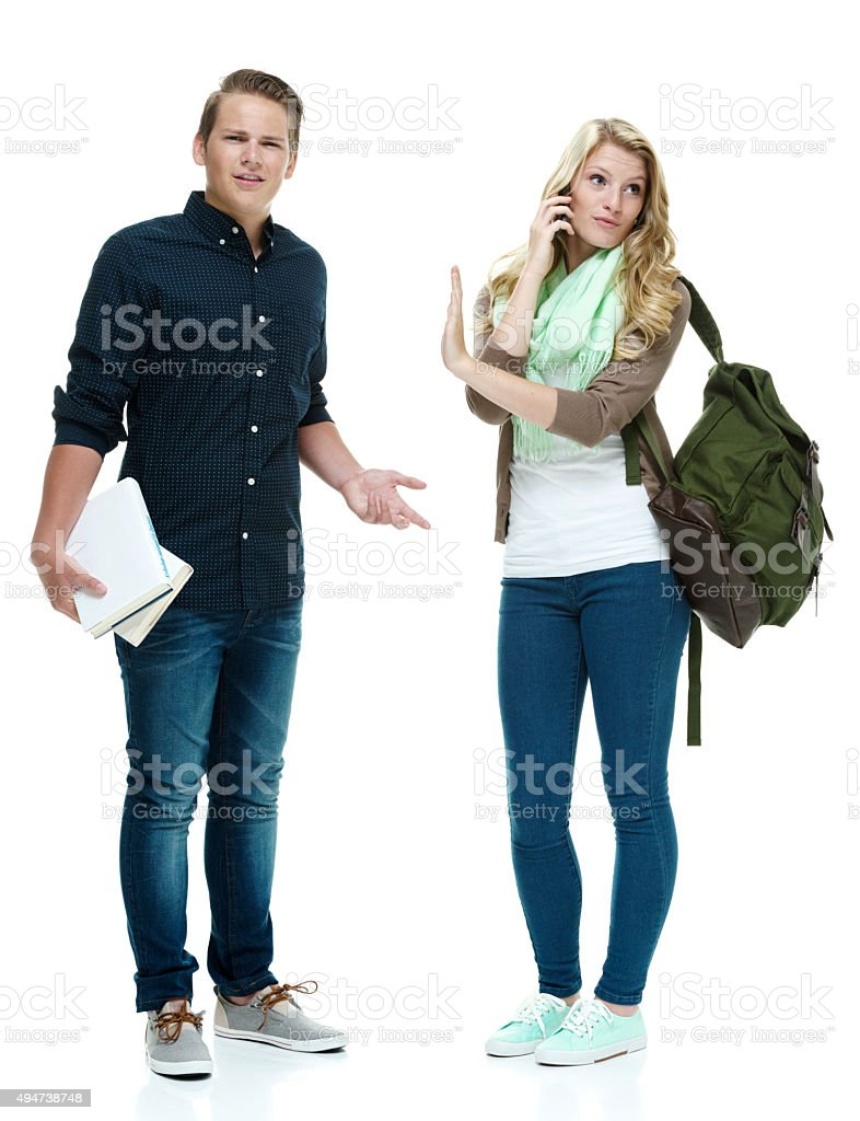 Female student does not want to be interrupted stock photo