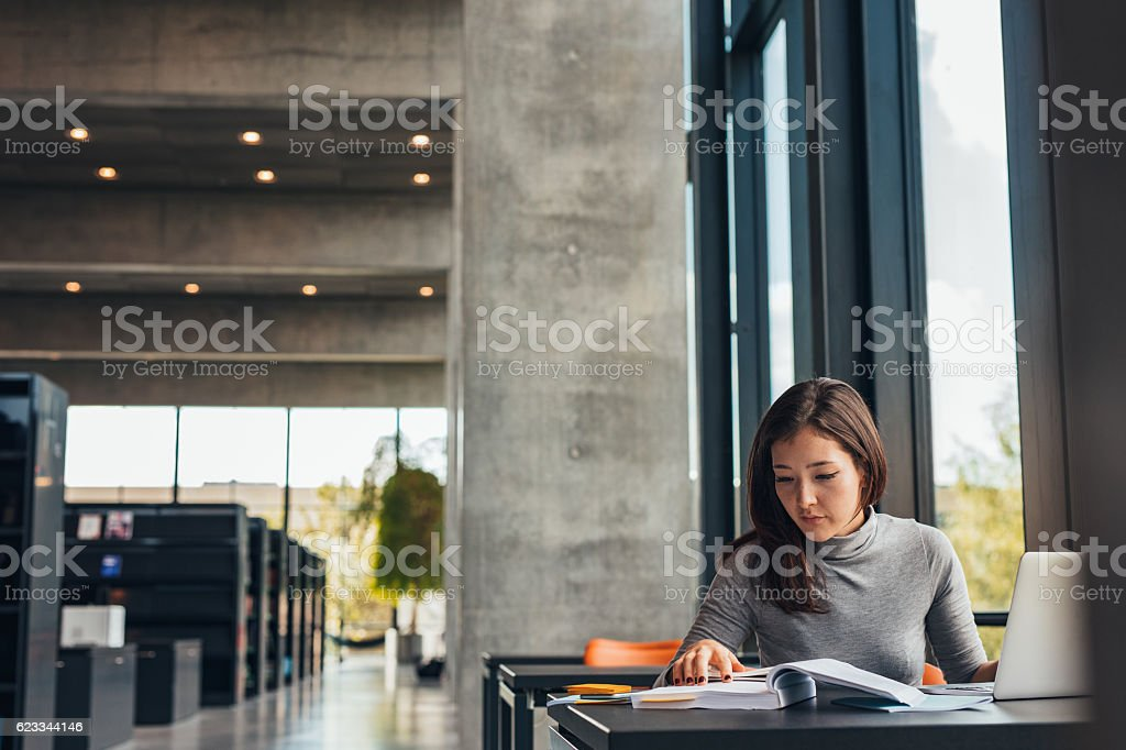 Female student doing assignments in library stock photo