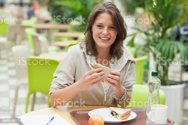 Female student eating sandwich in the cafeteria picture id846525112?b=1&k=6&m=846525112&s=612x612&h=jvw2yrfqefkfloyup xlhlmd1fzkfsjq09m 9hvekik=