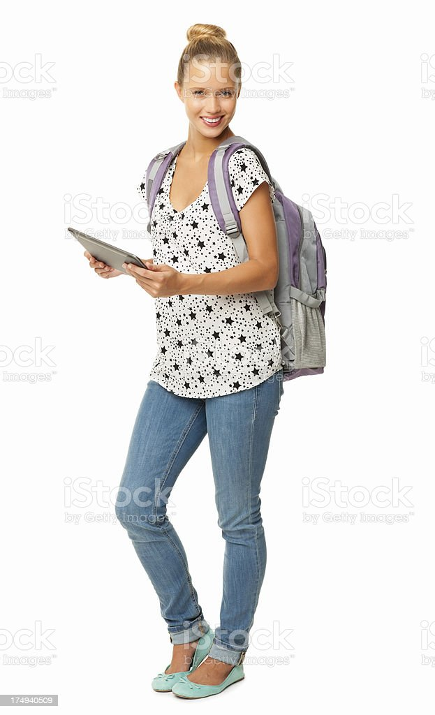Female Student Holding Digital Tablet - Isolated royalty-free stock photo