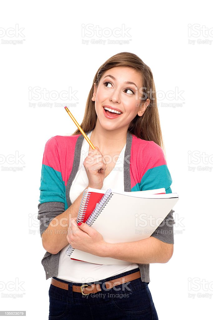 Female student looking up stock photo