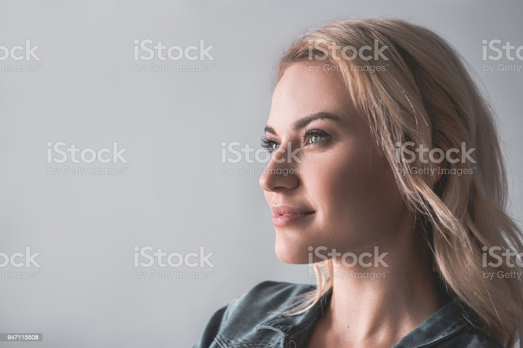 Female student lost in thoughts stock photo