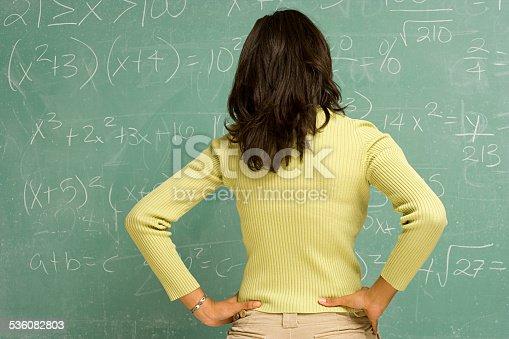 istock Female student stood in front of blackboard 536082803