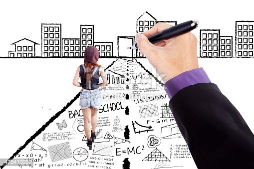 istock Female student walking on learning doodles 475410232