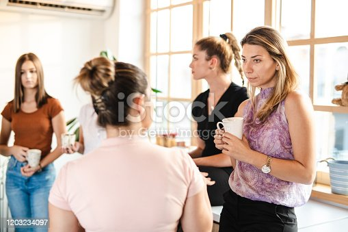 Group of cheerful female students on a coffee break