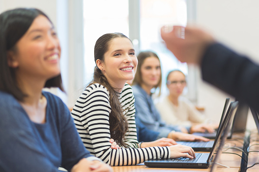 Female Students Coding Stock Photo - Download Image Now