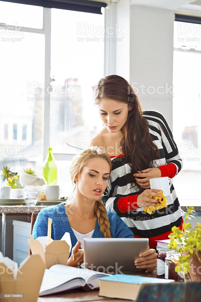Female students learning at home Two female friends learning together at home, the blonde girl holding digital tablet in hand. 20-24 Years Stock Photo