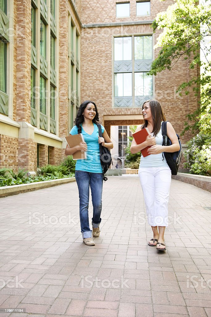 Female Students Walking on Campus royalty-free stock photo