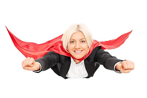weibliche superhelden-isoliert auf weißem hintergrund - damen umhänge stock-fotos und bilder