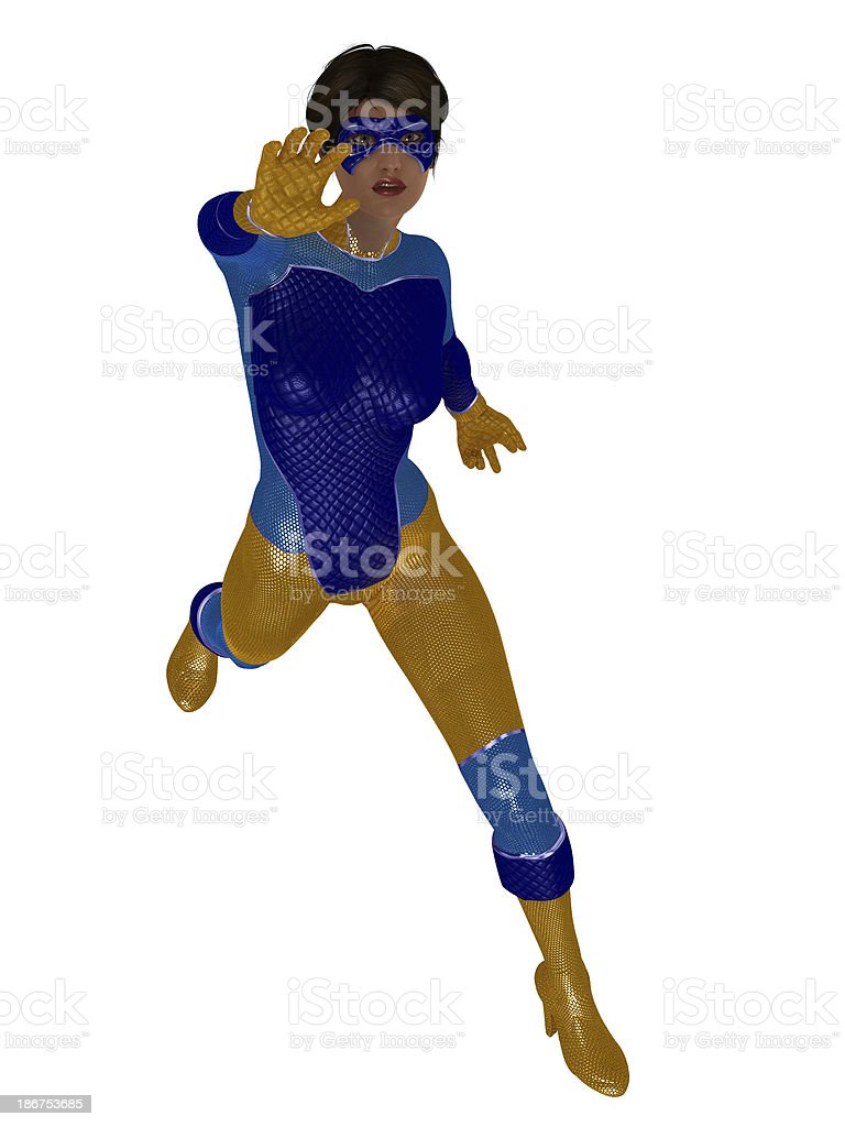 Female superhero in shiny blue and yellow costume royalty-free stock photo