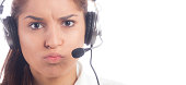 Frustrated customer service operator on a white background