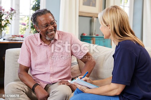 istock Female Support Worker Visits Senior Man At Home 874799578