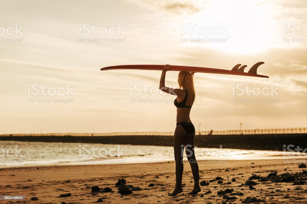 female surfer posing with surfboard on head at sunset - Zbiór zdjęć royalty-free (Deska surfingowa)