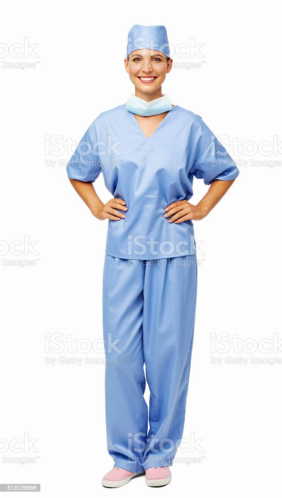 Female Surgeon Standing With Hands On Hips stock photo