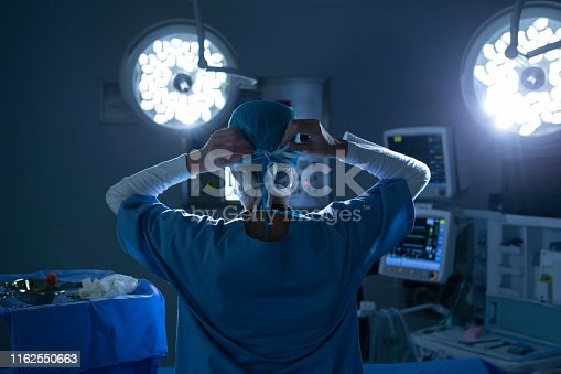 Rear view of Caucasian female surgeon putting her surgical mask in operating room at hospital. Shot in real medical hospital with doctors nurses and surgeons in authentic setting