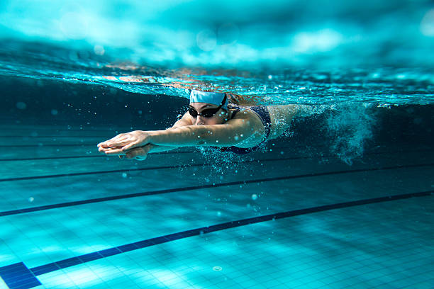 Female swimmer at the swimming pool. stock photo
