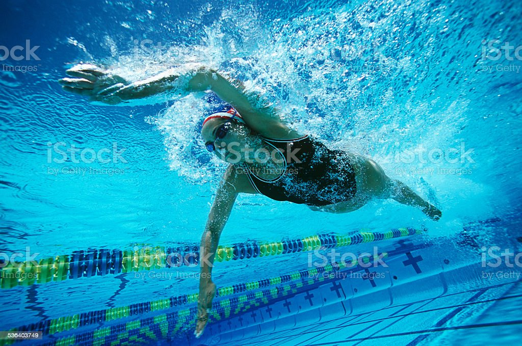 Female Swimmer Swimming In Pool stock photo