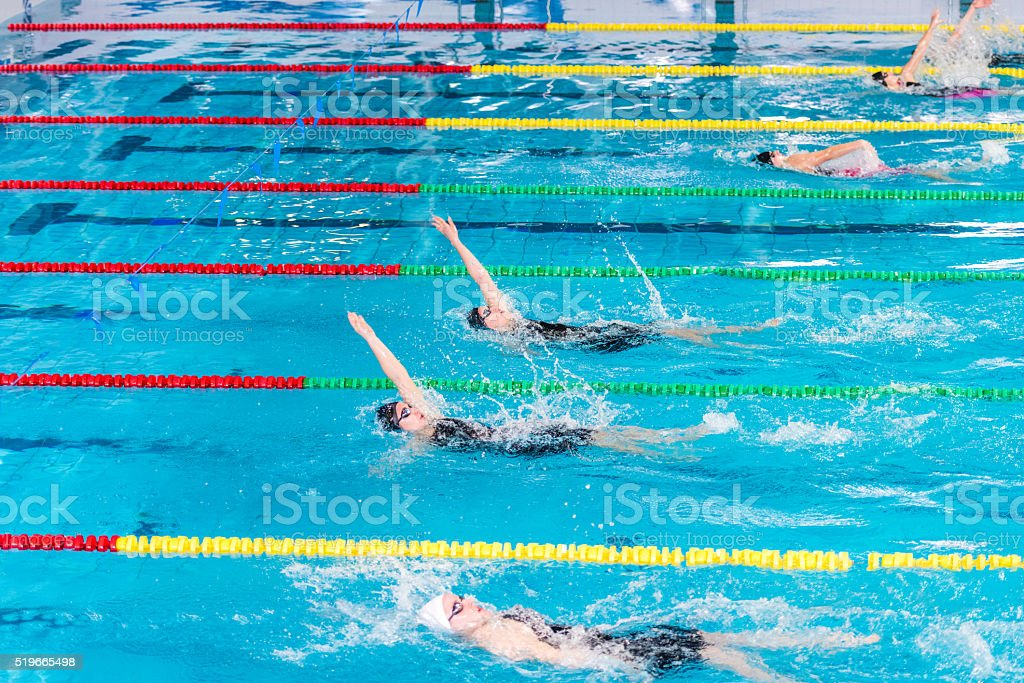 Female swimmer swimming stock photo