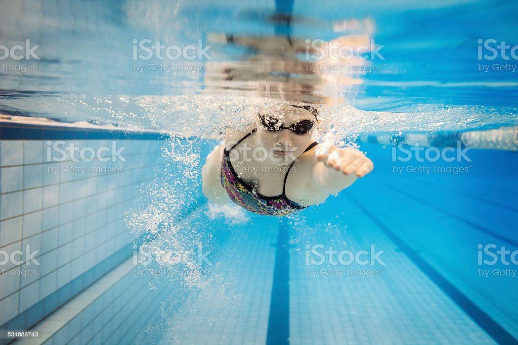 Female Swimmer Underwater stock photo