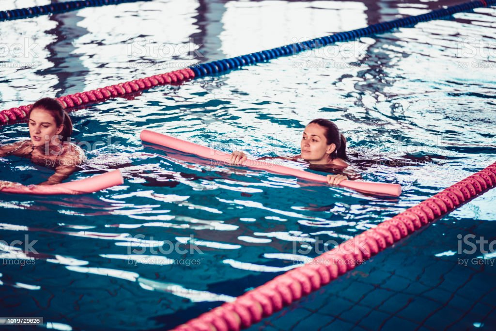 Female Swimmers Working Out In Pool