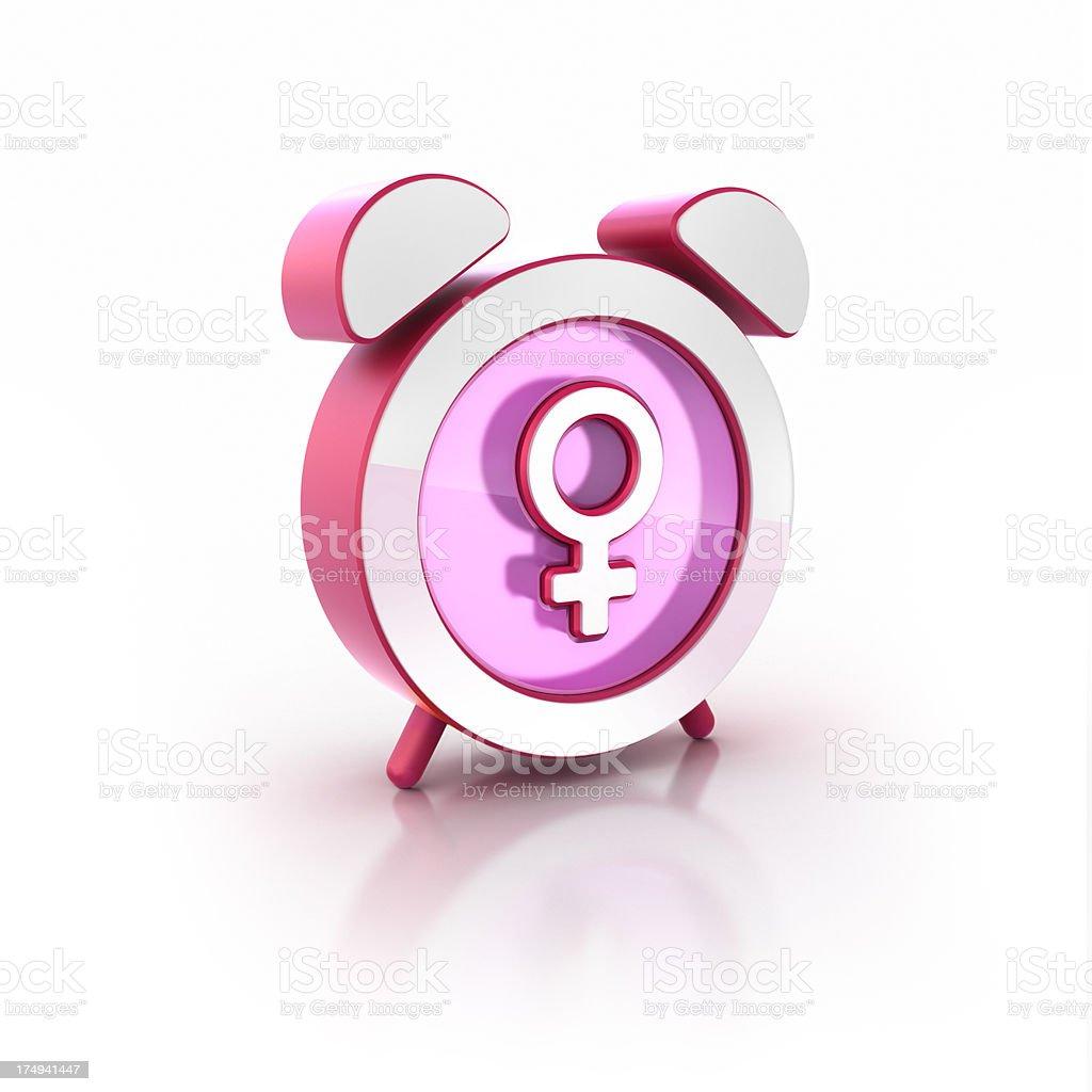 female symbol alarm clock 3D glossy icon stock photo