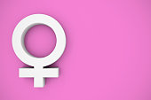 Female Symbol Pink Background Copy Space
