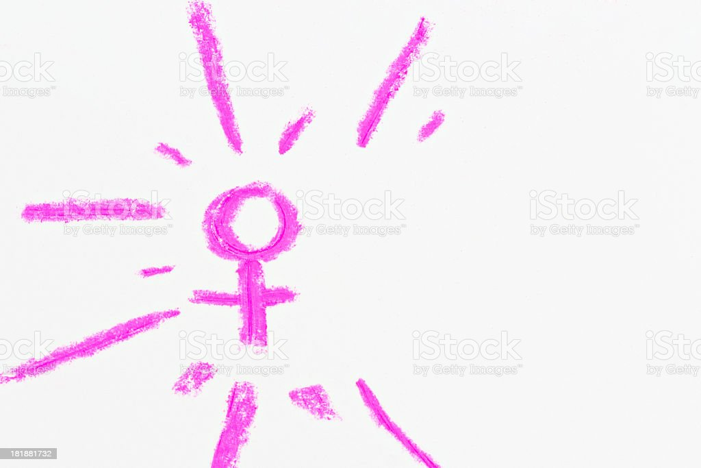 Female symbol sketched in vivid pink paste on white stock photo