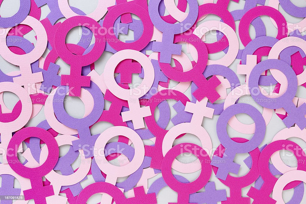 Female symbols background stock photo