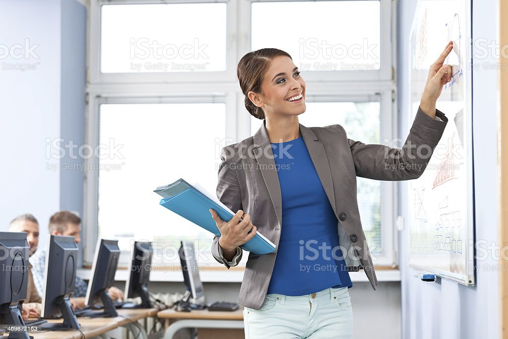 Female teacher Focus on smiling female teacher leading a job training, standing next to whiteboard with students in the background. 30-39 Years Stock Photo
