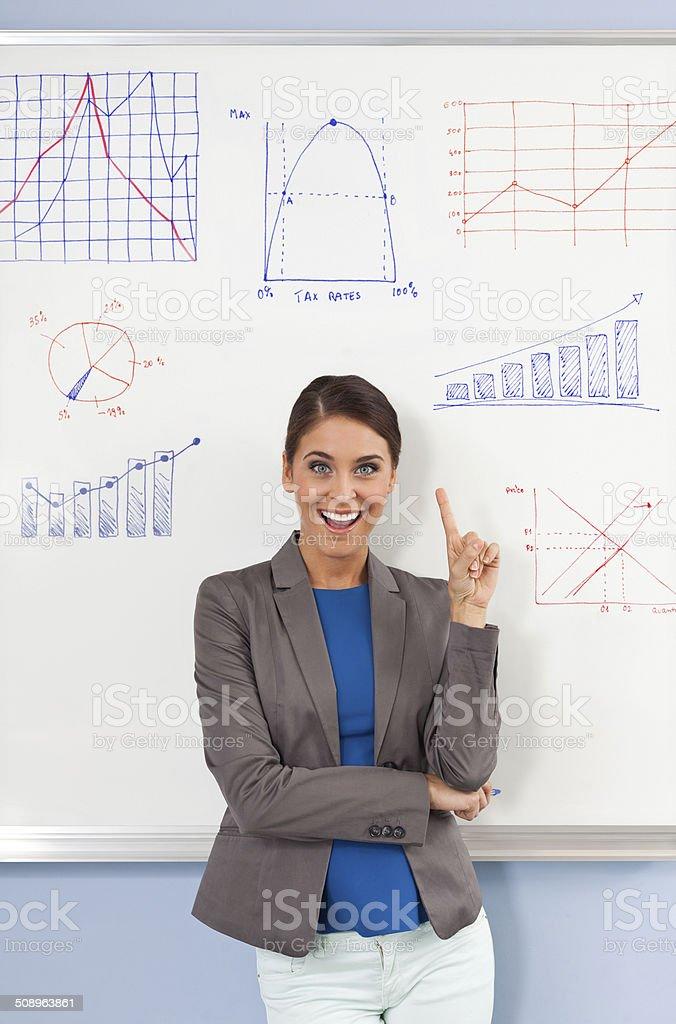 Female teacher Portrait of excited female teacher standing against the whiteboard. 30-39 Years Stock Photo