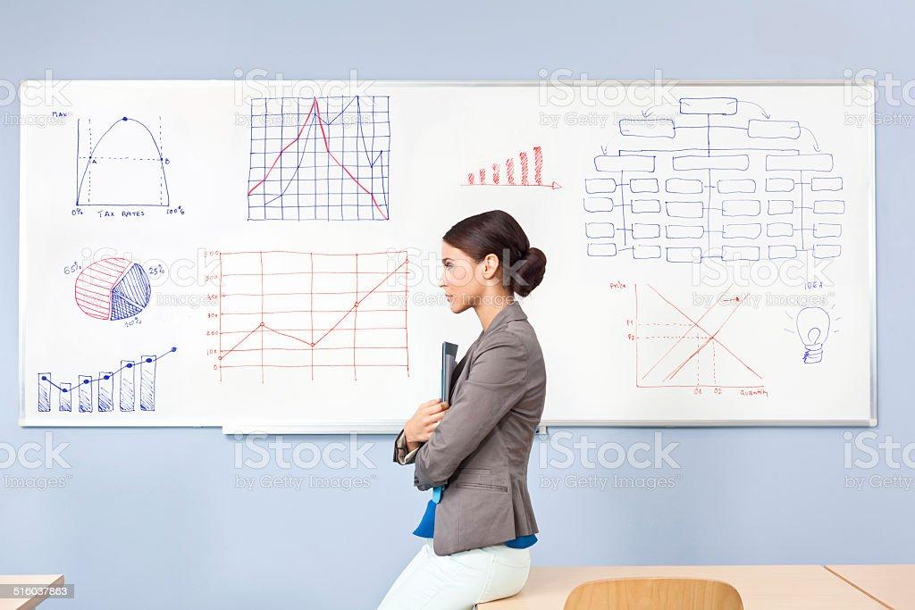Female teacher Side view of worried female teacher standing against the whiteboard. 30-39 Years Stock Photo